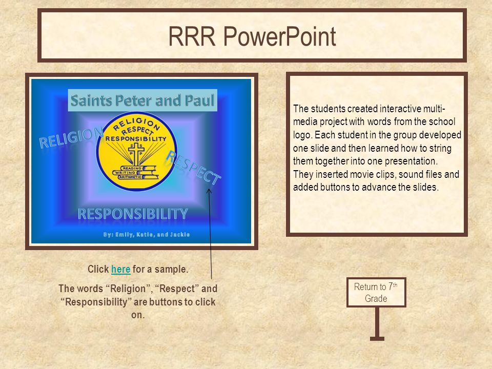 Click here for a sample.here The words Religion, Respect and Responsibility are buttons to click on. The students created interactive multi- media pro