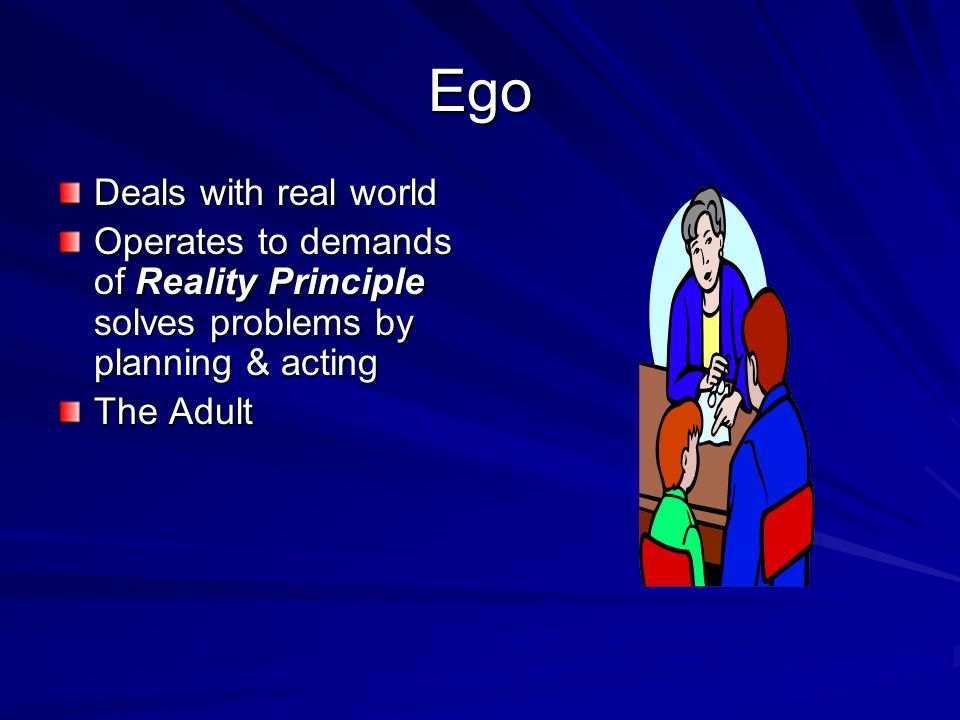 Ego Deals with real world Operates to demands of Reality Principle solves problems by planning & acting The Adult