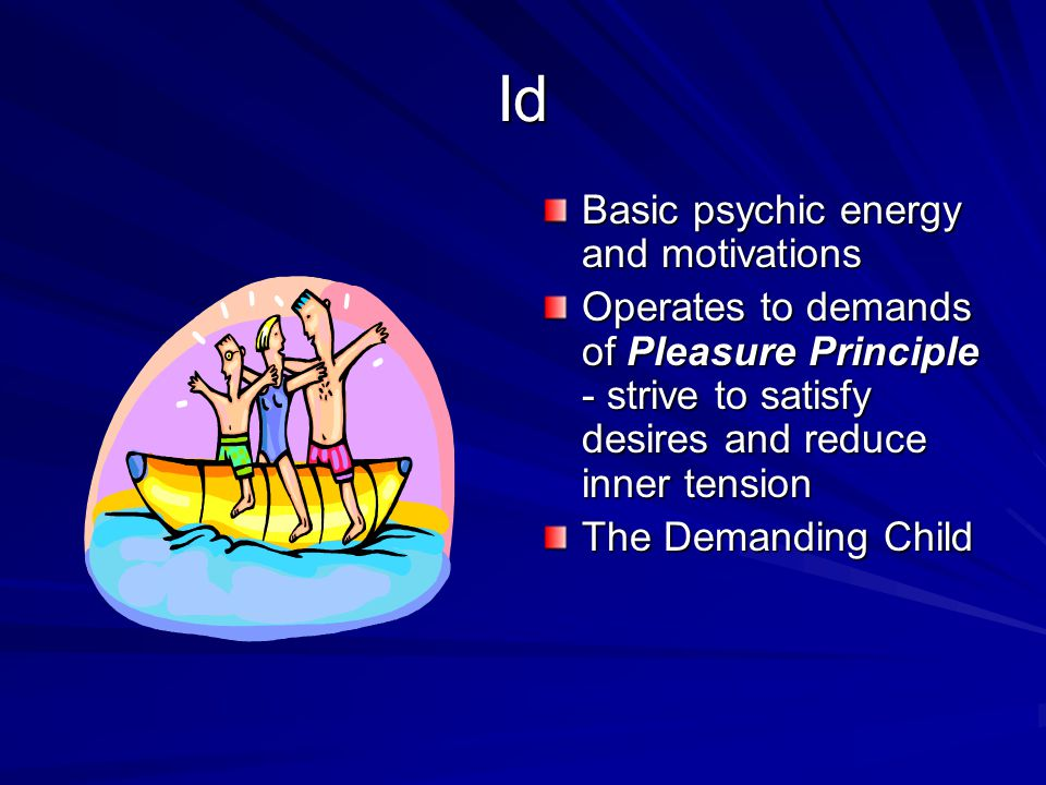 Id Basic psychic energy and motivations Operates to demands of Pleasure Principle - strive to satisfy desires and reduce inner tension The Demanding C