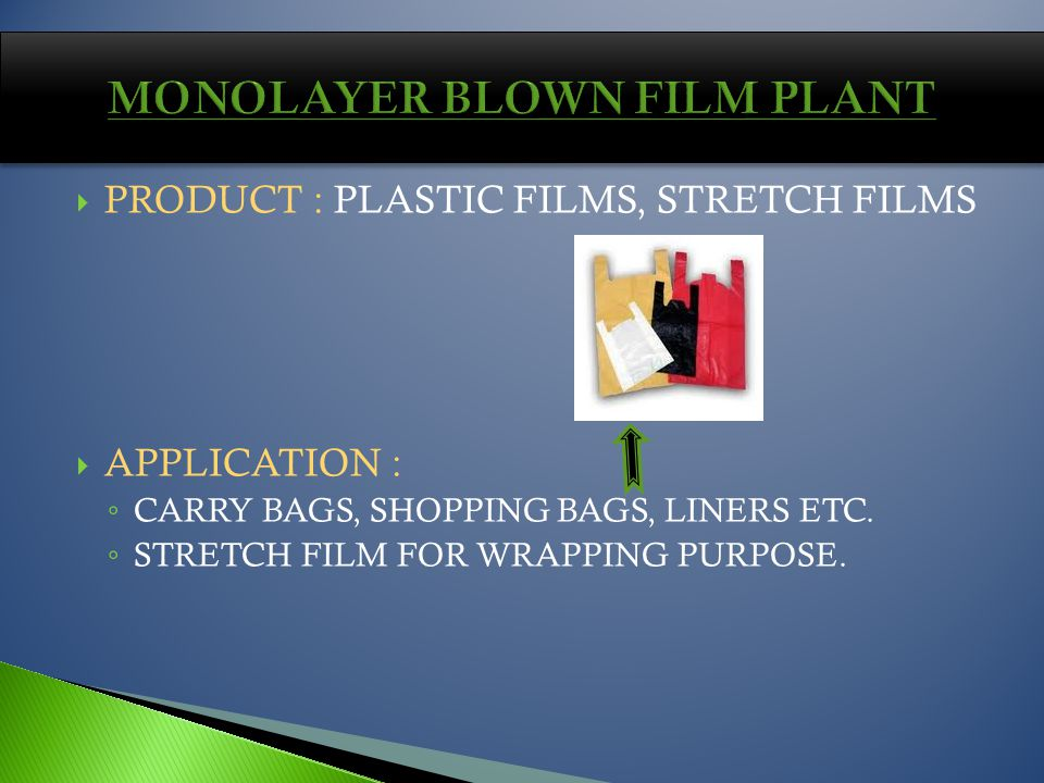 PRODUCT : PLASTIC FILMS, STRETCH FILMS APPLICATION : CARRY BAGS, SHOPPING BAGS, LINERS ETC.