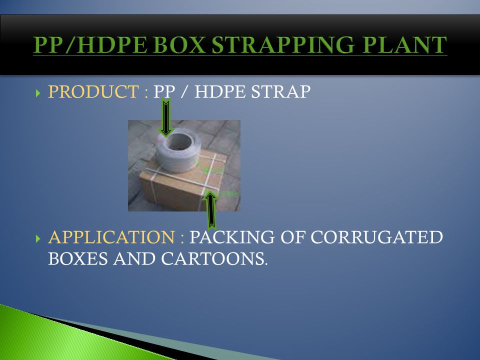 PRODUCT : PP / HDPE STRAP APPLICATION : PACKING OF CORRUGATED BOXES AND CARTOONS.
