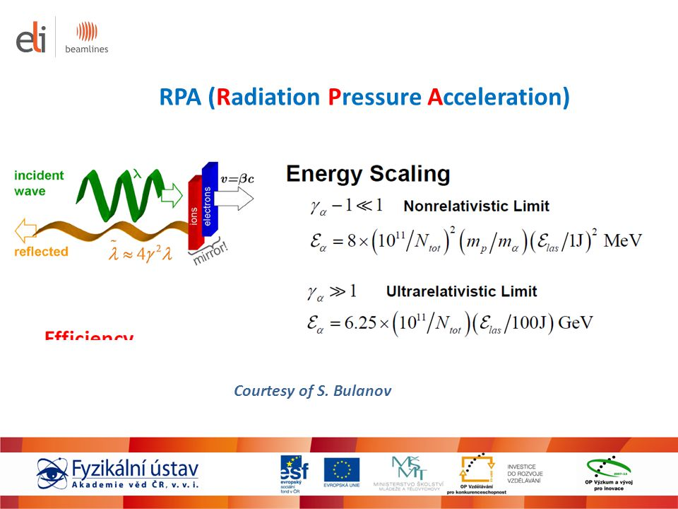 Courtesy of S. Bulanov RPA (Radiation Pressure Acceleration)