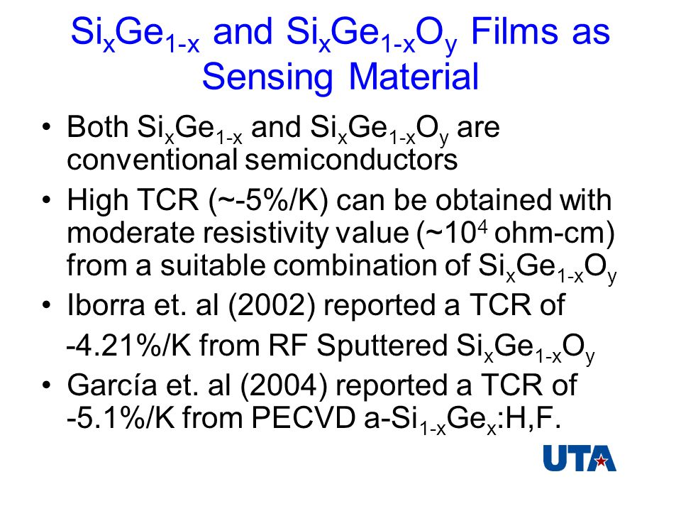Si x Ge 1-x and Si x Ge 1-x O y Films as Sensing Material Both Si x Ge 1-x and Si x Ge 1-x O y are conventional semiconductors High TCR (~-5%/K) can be obtained with moderate resistivity value (~10 4 ohm-cm) from a suitable combination of Si x Ge 1-x O y Iborra et.
