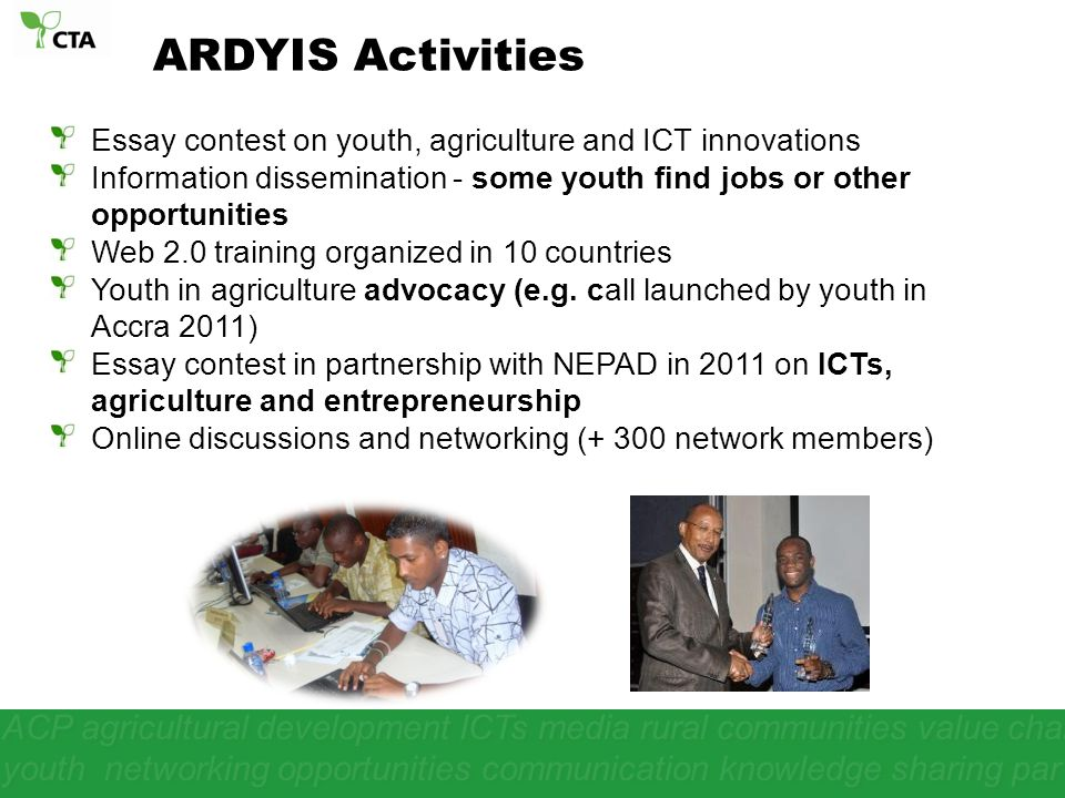 ACP agricultural development ICTs media rural communities value chain youth networking opportunities communication knowledge sharing par Essay contest