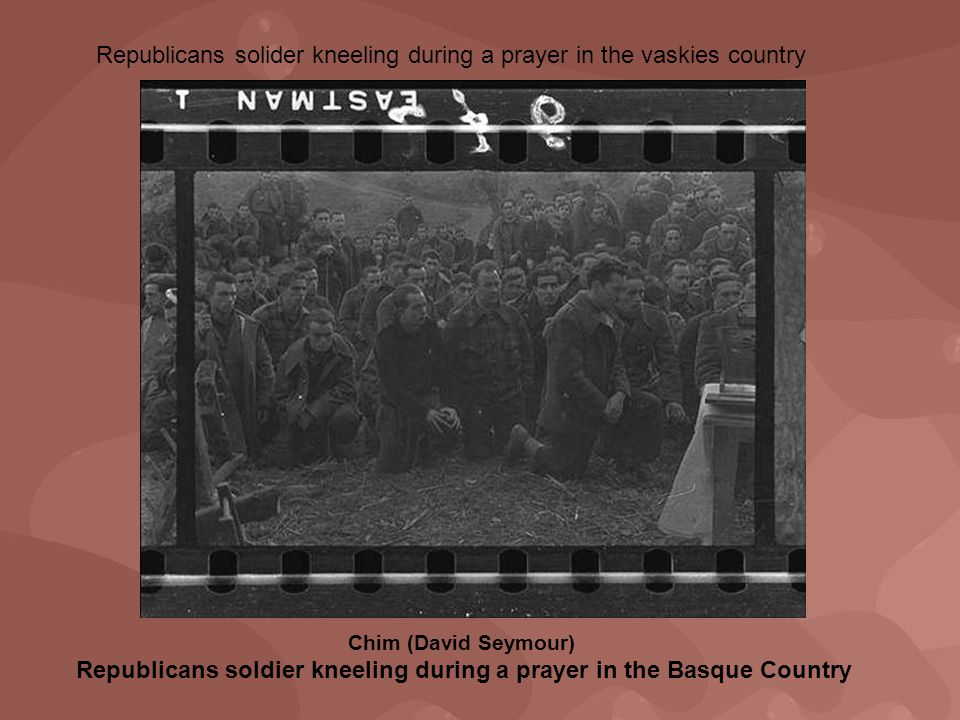 Chim (David Seymour) Republicans soldier kneeling during a prayer in the Basque Country Republicans solider kneeling during a prayer in the vaskies country