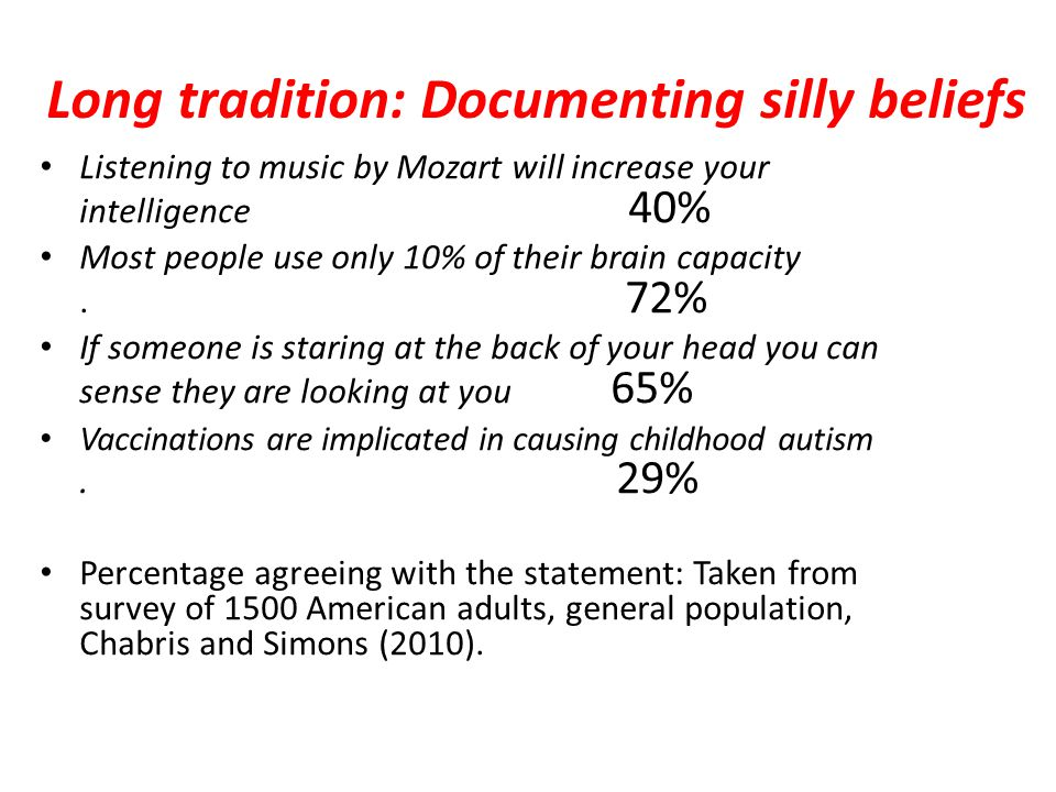 Long tradition: Documenting silly beliefs Listening to music by Mozart will increase your intelligence 40% Most people use only 10% of their brain capacity.