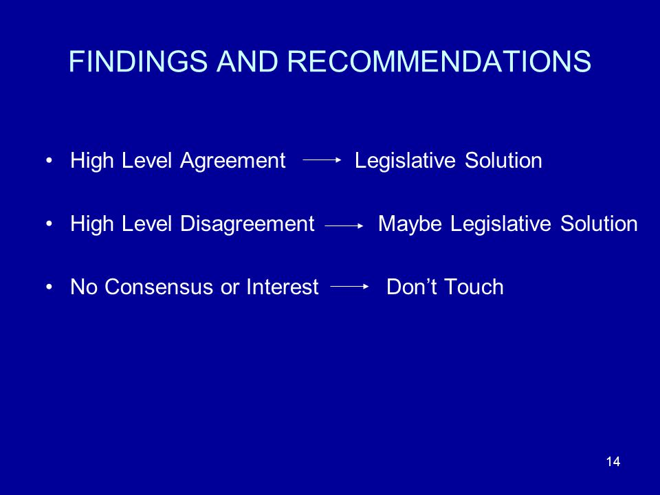 14 FINDINGS AND RECOMMENDATIONS High Level Agreement Legislative Solution High Level Disagreement Maybe Legislative Solution No Consensus or Interest Dont Touch
