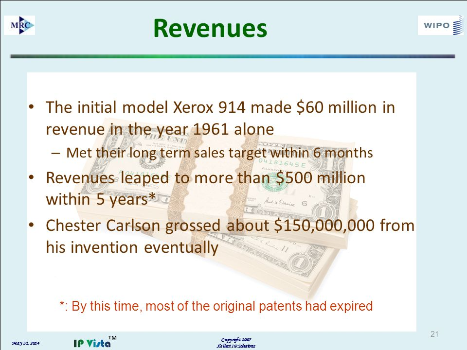 May 31, 2014 Copyright 2007 Xellect IP Solutions 21 Revenues The initial model Xerox 914 made $60 million in revenue in the year 1961 alone – Met their long term sales target within 6 months Revenues leaped to more than $500 million within 5 years* Chester Carlson grossed about $150,000,000 from his invention eventually *: By this time, most of the original patents had expired