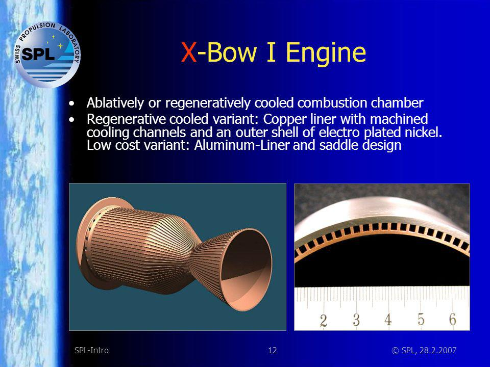 12SPL-Intro© SPL, 28.2.2007 X-Bow I Engine Ablatively or regeneratively cooled combustion chamber Regenerative cooled variant: Copper liner with machi