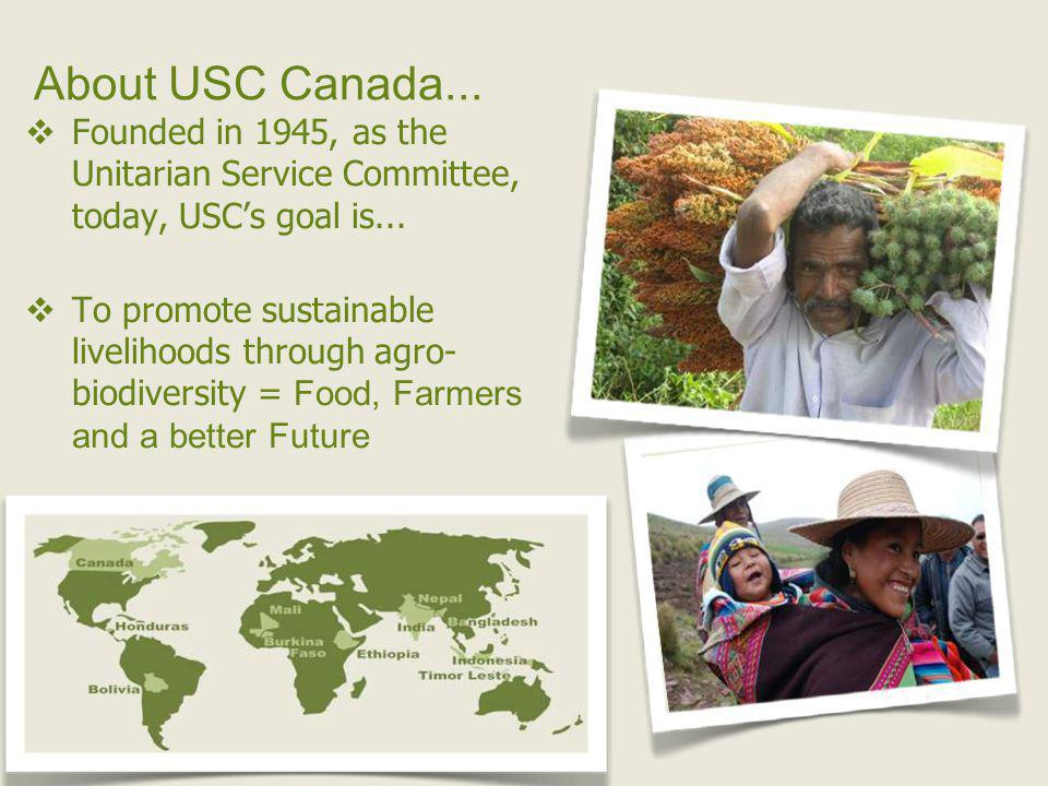 About USC Canada...Founded in 1945, as the Unitarian Service Committee, today, USCs goal is...