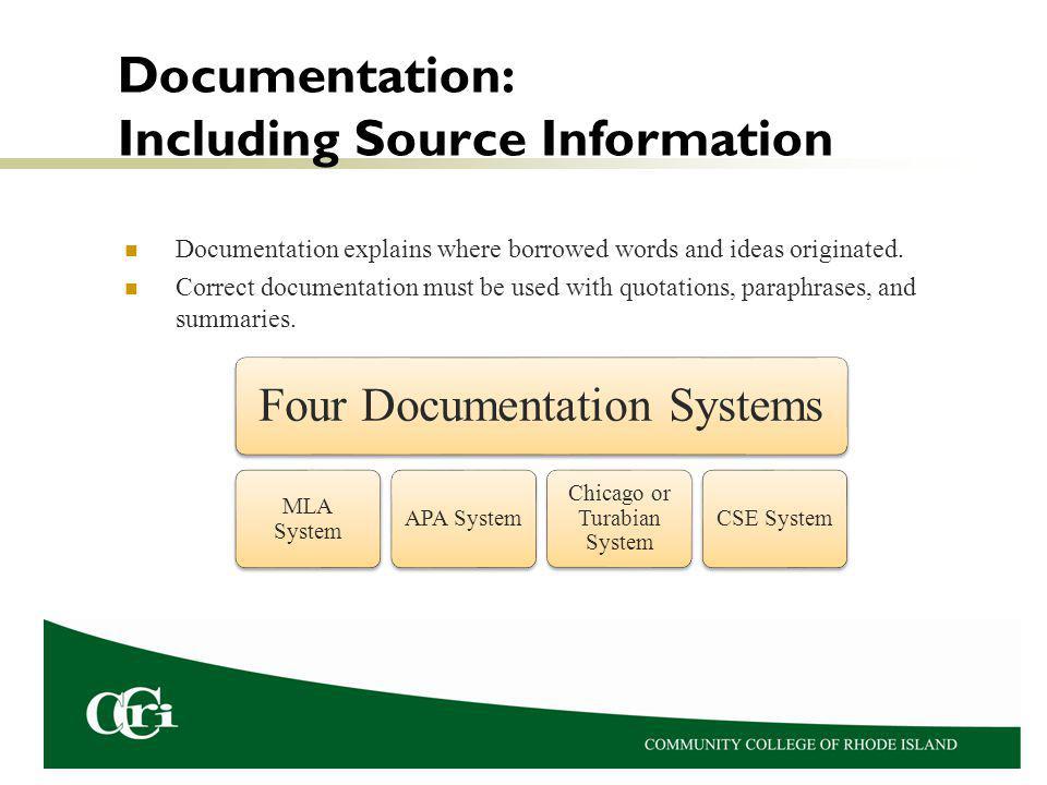 Documentation: Including Source Information Documentation explains where borrowed words and ideas originated.