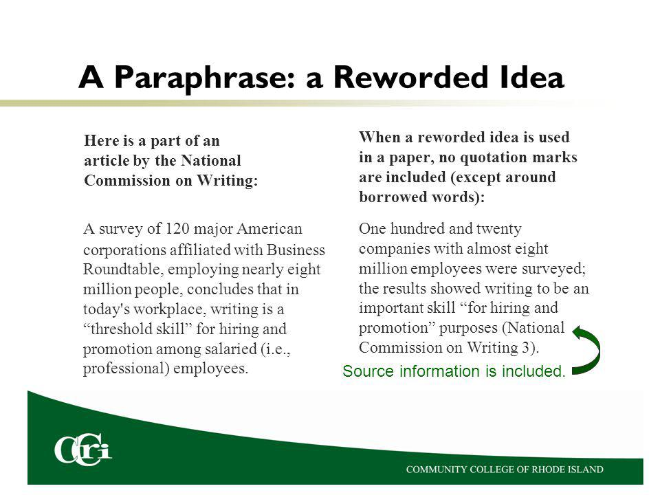 A Paraphrase: a Reworded Idea Here is a part of an article by the National Commission on Writing: A survey of 120 major American corporations affiliated with Business Roundtable, employing nearly eight million people, concludes that in today s workplace, writing is a threshold skill for hiring and promotion among salaried (i.e., professional) employees.