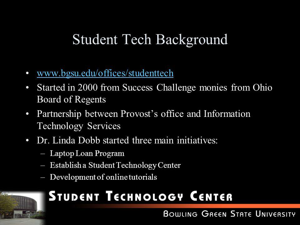 Student Tech Background www.bgsu.edu/offices/studenttech Started in 2000 from Success Challenge monies from Ohio Board of Regents Partnership between