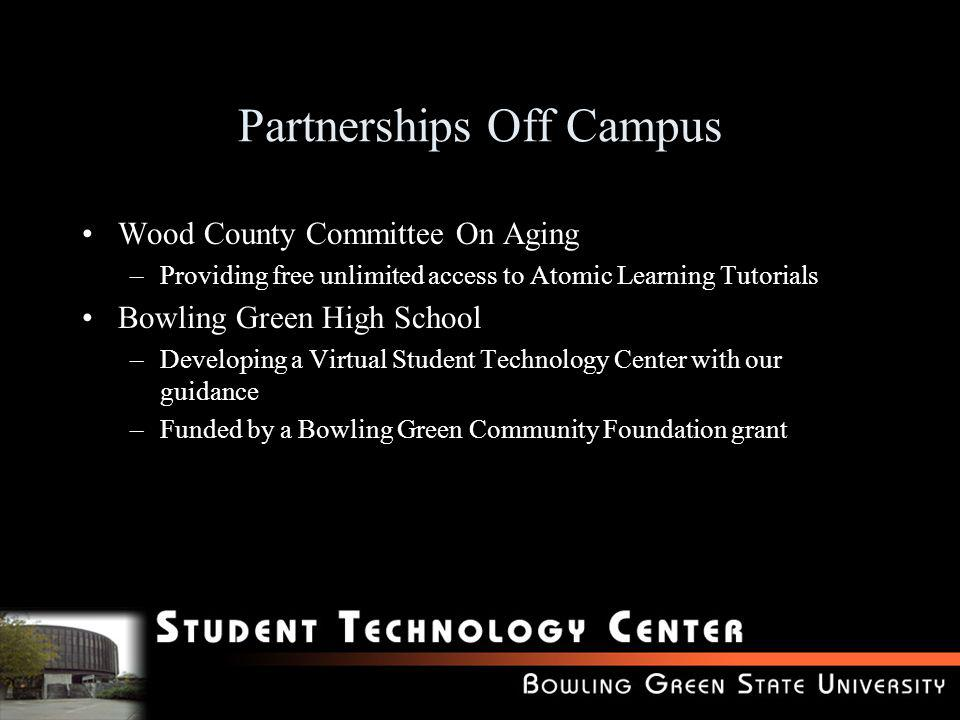 Partnerships Off Campus Wood County Committee On Aging –Providing free unlimited access to Atomic Learning Tutorials Bowling Green High School –Developing a Virtual Student Technology Center with our guidance –Funded by a Bowling Green Community Foundation grant