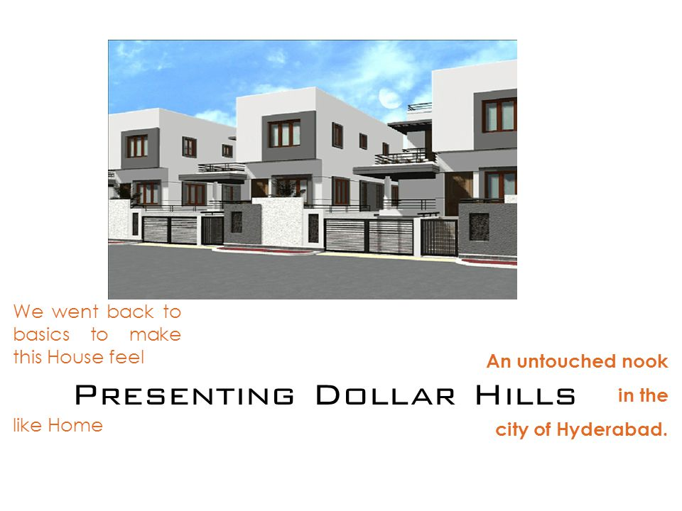 Presenting Dollar Hills An untouched nook in the city of Hyderabad.