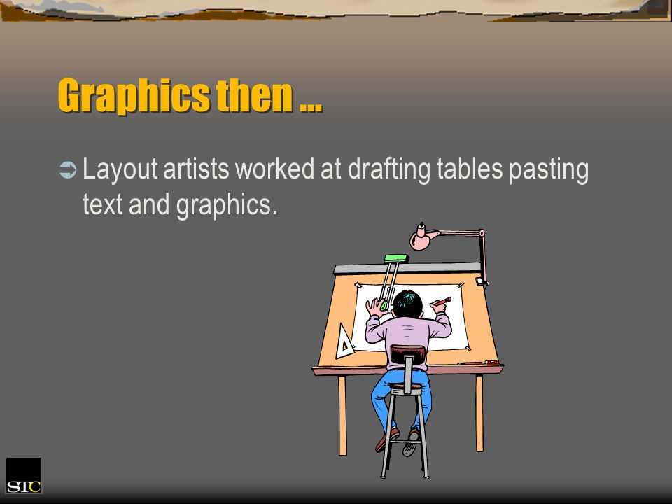 Graphics then … Layout artists worked at drafting tables pasting text and graphics.
