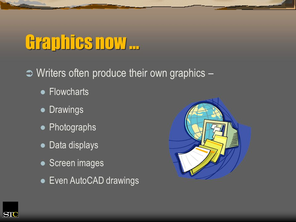 Graphics now … Writers often produce their own graphics – Flowcharts Drawings Photographs Data displays Screen images Even AutoCAD drawings