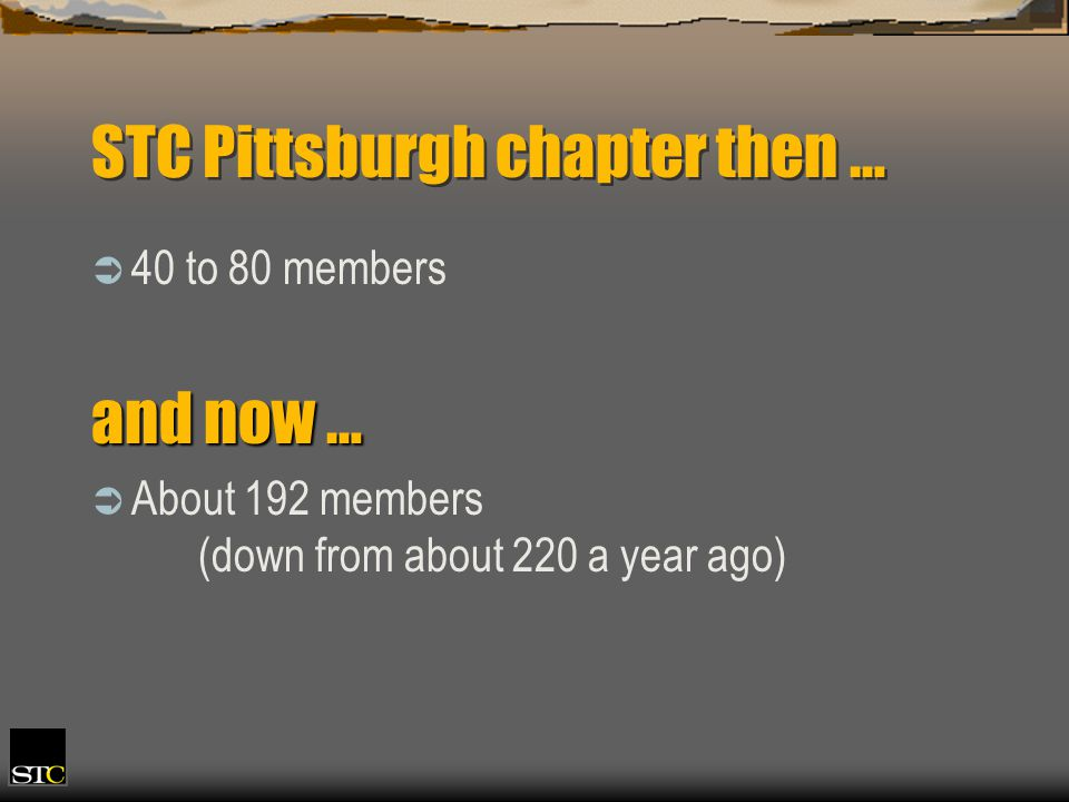 STC Pittsburgh chapter then … 40 to 80 members and now … About 192 members (down from about 220 a year ago)