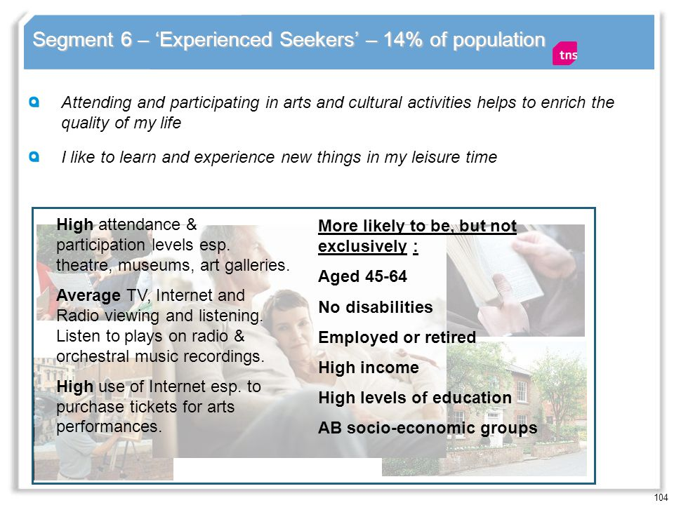 104 Segment 6 – Experienced Seekers – 14% of population Attending and participating in arts and cultural activities helps to enrich the quality of my life I like to learn and experience new things in my leisure time High attendance & participation levels esp.