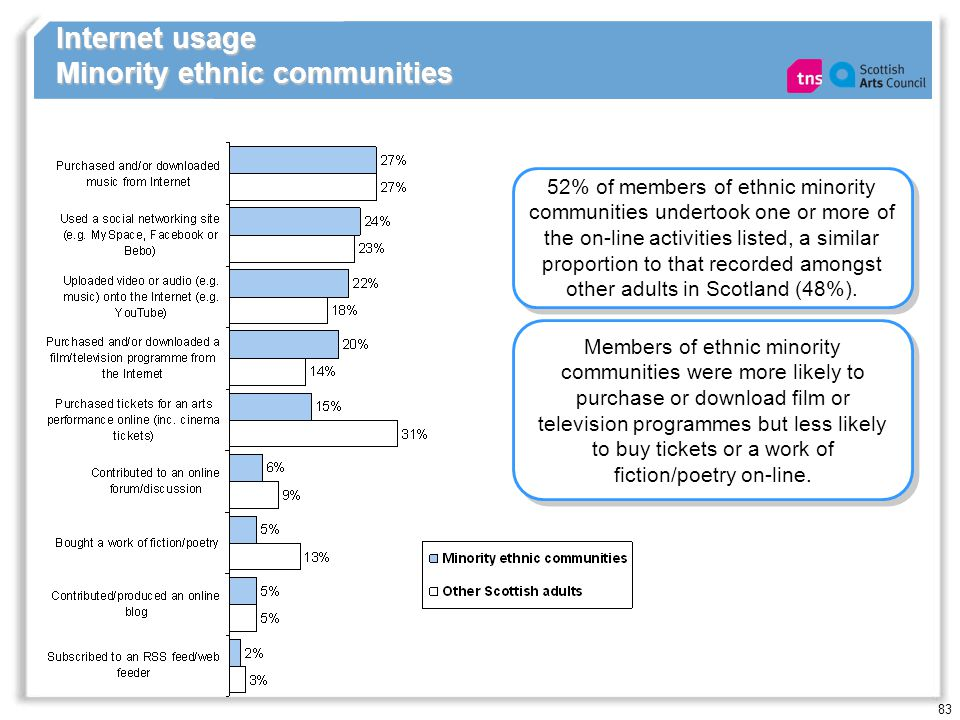 83 Internet usage Minority ethnic communities 52% of members of ethnic minority communities undertook one or more of the on-line activities listed, a