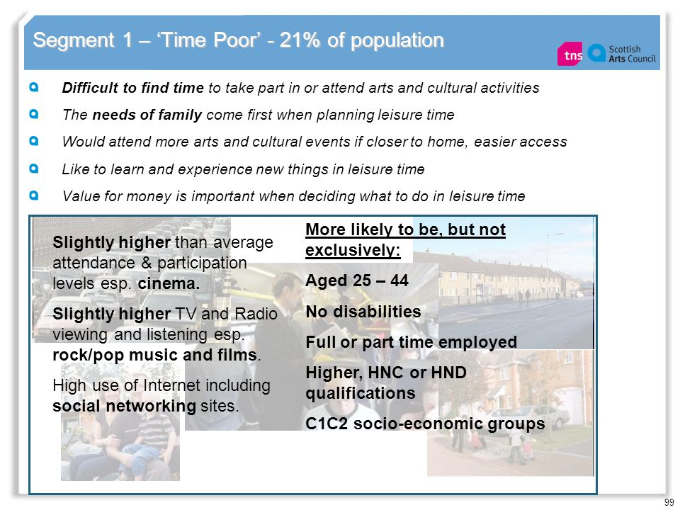 99 Segment 1 – Time Poor - 21% of population Difficult to find time to take part in or attend arts and cultural activities The needs of family come fi