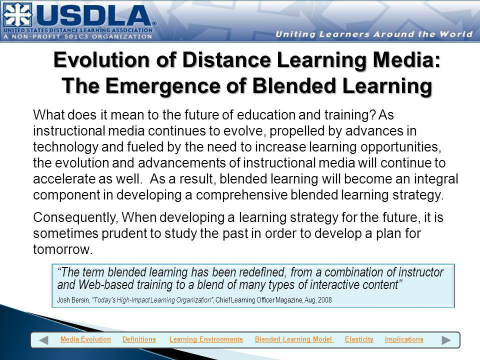 The Family Tree of Distance learning Media Electronic-assisted Learning (circa 1990-present) T echnology-enabled (circa 1950s-1990s TV (satellite & cable) audio tape audio graphics audio conferencing e-learning (circa 1995-present) Satellite e-learning/ITV Video Conferencing Video tape/DVD/ ipods Electronic whiteboards Correspondence (1883-present) In the beginning, there was only correspondence courses, and the concept of blending wasnt born yet.