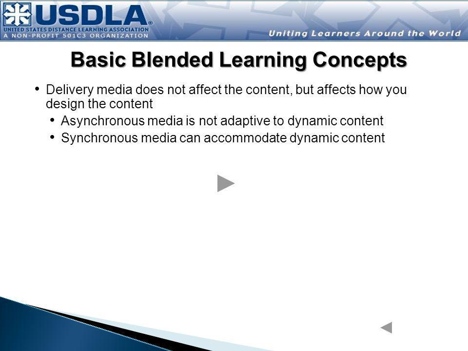 Delivery media does not affect the content, but affects how you design the content Asynchronous media is not adaptive to dynamic content Synchronous media can accommodate dynamic content Blended learning integrates multiple media with the appropriate instructional strategies, and can also include Collaborative tools used to facilitate the transfer of learning (wikis, discussion boards) Adaptive tools used for dynamic content/increased interaction (blogs) Basic Blended Learning Concepts