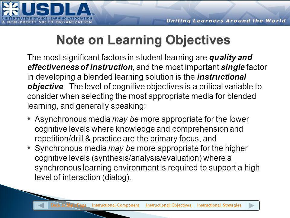 A learning objective (aka behavioral objective, instructional objective, enabling objective, or performance objective) is a succinct statement that describes a specific learning activity o Includes a description of a performance you want learners to be able to exhibit in order to evaluate competency o Expressed in terms of the student and formulated in terms of observable behavior and the special conditions in which the behavior is manifested.