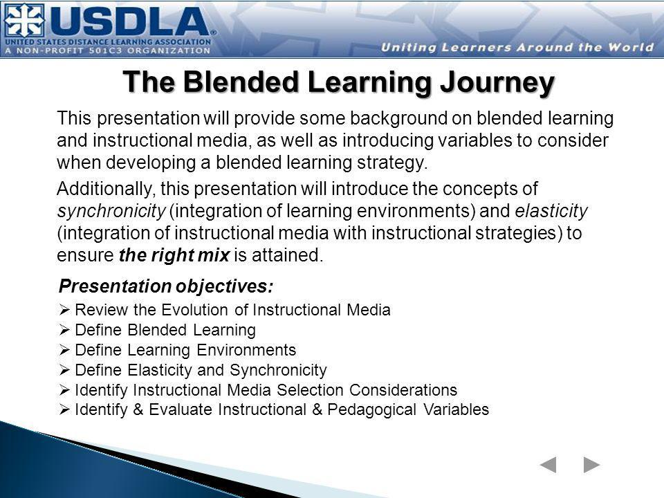 The Blended Learning Presentation Map Navigation Bar Click on any link for direct access to that topic Evolution of Instructional Media [for distance learning] Blended Learning Definitions Learning Environments (synchronous & asynchronous) Elasticity Implications (trends from the industry) Learning Model Learning Environment Component Instructional Component Media Component Media Evolution Definitions Learning Environments Blended Learning Model Elasticity ImplicationsMedia EvolutionDefinitionsLearning EnvironmentsBlended Learning Model ElasticityImplications Return to Title Slide Click for Glossary