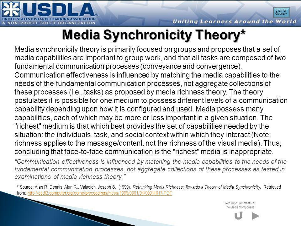 Media Synchronicity Theory: Dimensions of Task Functions, Communication Processes, and Media Characteristics Communication effectiveness is influenced by matching the media capabilities to the needs of the fundamental communication processes, not aggregate collections of these processes as tested in examinations of media richness theory.