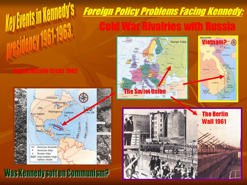 Foreign Policy Problems Facing Kennedy: The Soviet Union Nikita Khrushchev The Space Race East Germany The Berlin Wall 1961 Cuba Fidel Castro Bay of Pigs Fiasco 1961 US assisted invasion of Cuba by Cuban exiles fails disastrously Cuban Missile Crisis 1962 Vietnam.