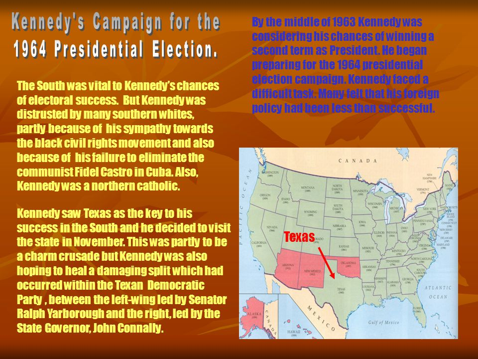 Kennedy saw Texas as the key to his success in the South and he decided to visit the state in November.