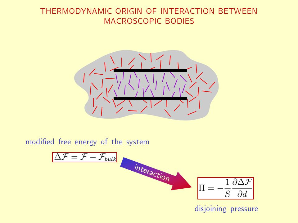 THERMODYNAMIC ORIGIN OF INTERACTION BETWEEN MACROSCOPIC BODIES modified free energy of the system interaction disjoining pressure