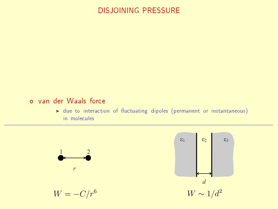 structural force fluctuation-induced force van der Waals force DISJOINING PRESSURE due to interaction of fluctuating dipoles (permanent or instantaneo