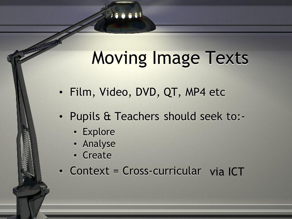 Moving Image Texts Film, Video, DVD, QT, MP4 etc Pupils & Teachers should seek to:- Explore Analyse Create Context = Cross-curricular Film, Video, DVD, QT, MP4 etc Pupils & Teachers should seek to:- Explore Analyse Create Context = Cross-curricular via ICT