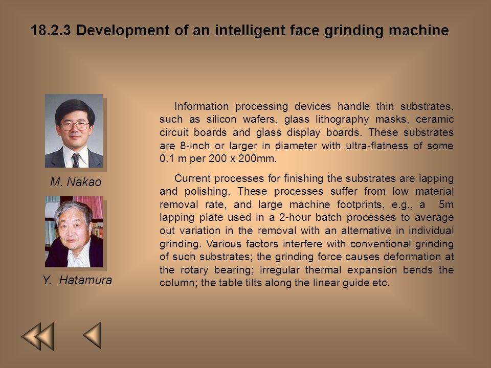 18.2.2 Development of intelligent machining center M. MitsuishiY. Hatamura T. Nagao The authors have developed a high efficiency machining system whic