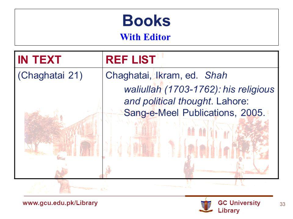 GC University Library www.gcu.edu.pk www.gcu.edu.pk/Library 33 Books With Editor IN TEXTREF LIST (Chaghatai 21)Chaghatai, Ikram, ed.