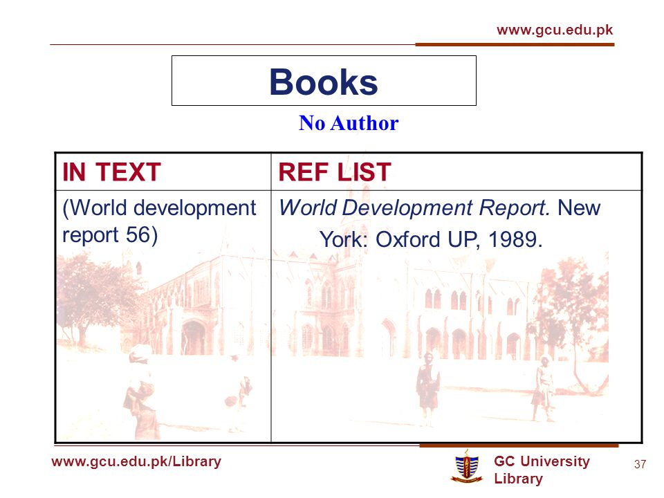 GC University Library www.gcu.edu.pk www.gcu.edu.pk/Library 37 Books No Author IN TEXTREF LIST (World development report 56) World Development Report.