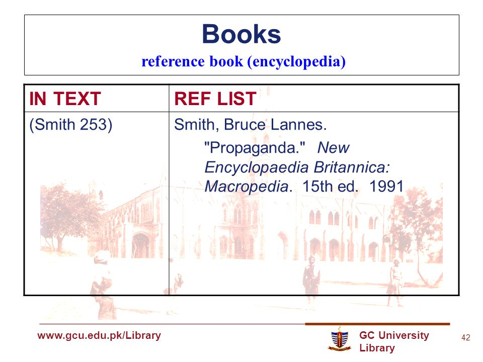 GC University Library www.gcu.edu.pk www.gcu.edu.pk/Library 42 Books reference book (encyclopedia) IN TEXTREF LIST (Smith 253)Smith, Bruce Lannes.