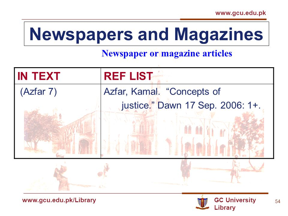 GC University Library www.gcu.edu.pk www.gcu.edu.pk/Library 54 Newspapers and Magazines Newspaper or magazine articles IN TEXTREF LIST (Azfar 7)Azfar, Kamal.