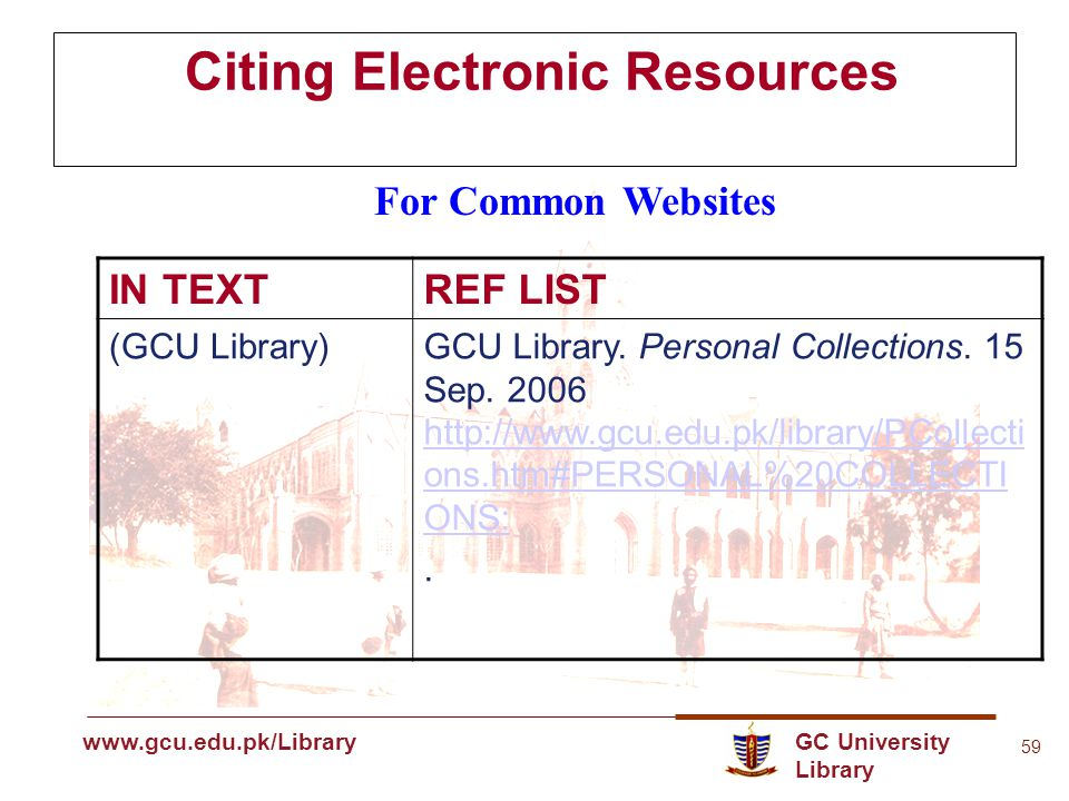 GC University Library www.gcu.edu.pk www.gcu.edu.pk/Library 59 Citing Electronic Resources For Common Websites IN TEXTREF LIST (GCU Library)GCU Library.