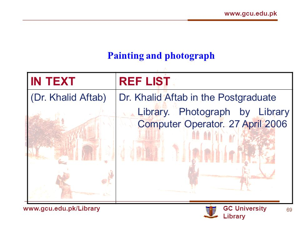 GC University Library www.gcu.edu.pk www.gcu.edu.pk/Library 69 Painting and photograph IN TEXTREF LIST (Dr.