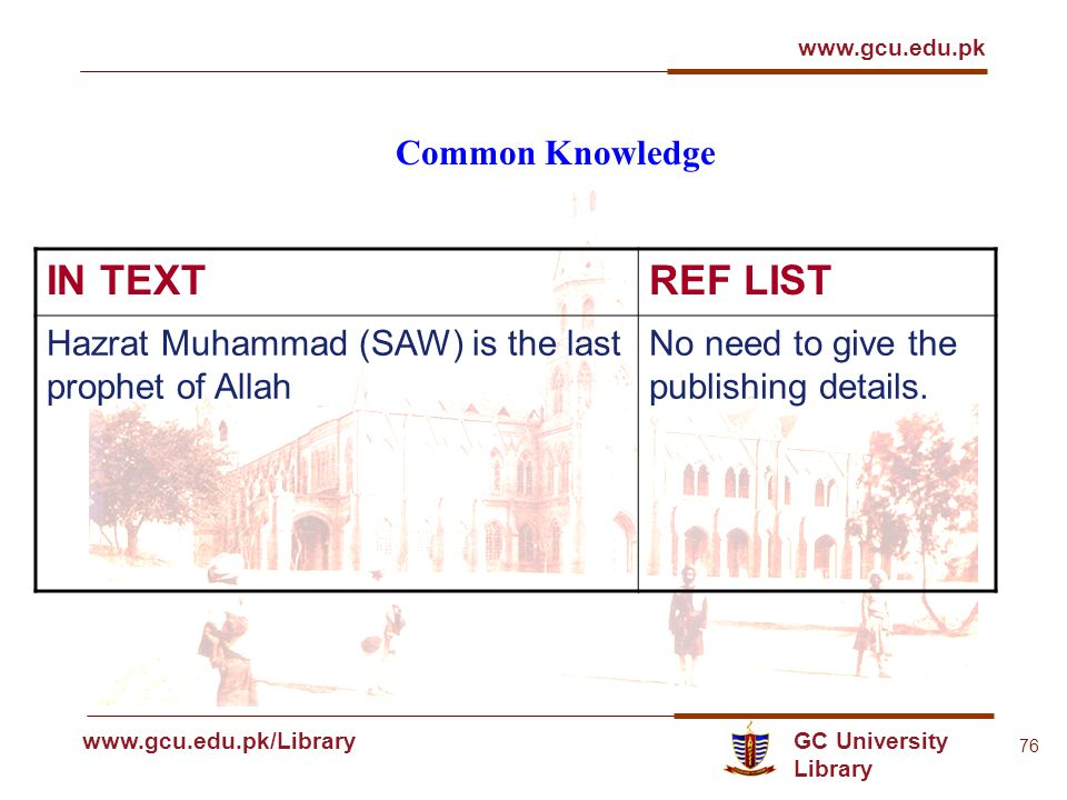 GC University Library www.gcu.edu.pk www.gcu.edu.pk/Library 76 Common Knowledge IN TEXTREF LIST Hazrat Muhammad (SAW) is the last prophet of Allah No