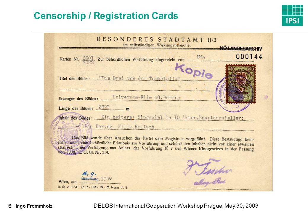 Ingo Frommholz DELOS International Cooperation Workshop Prague, May 30, 2003 6 Censorship / Registration Cards