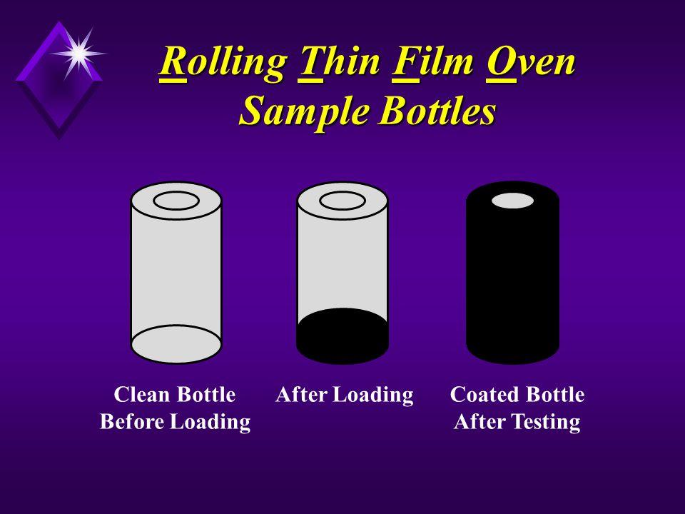 Rolling Thin Film Oven Sample Bottles Clean Bottle Before Loading After LoadingCoated Bottle After Testing