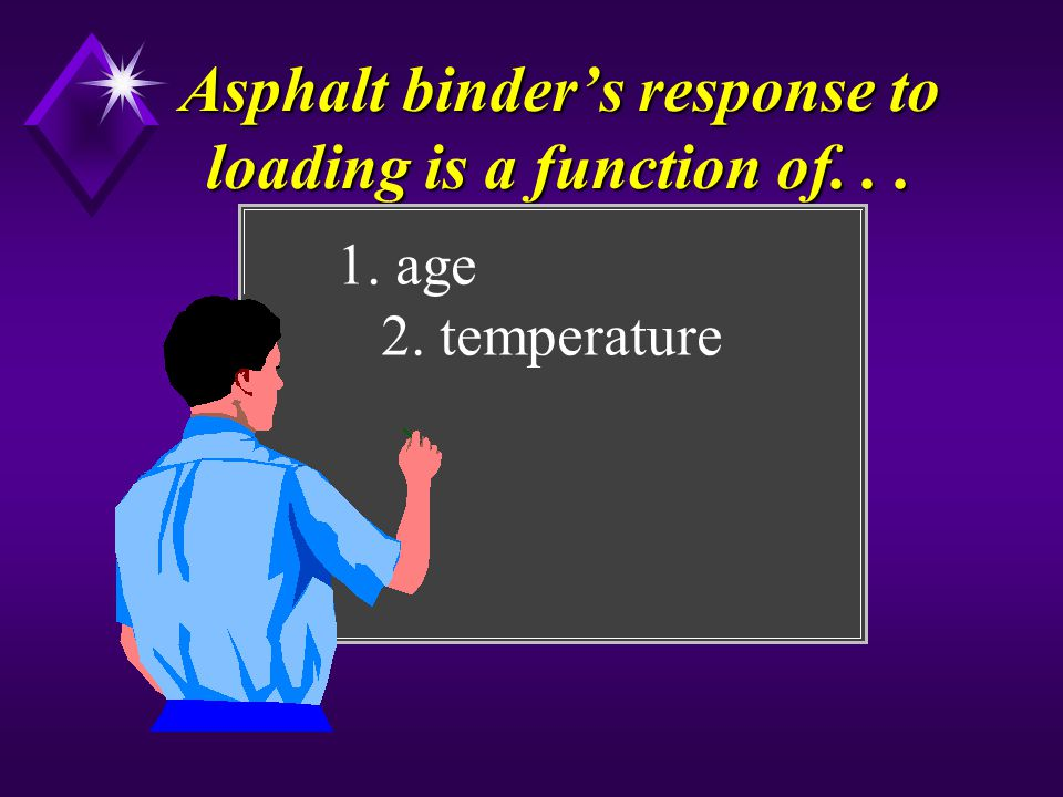 Asphalt binders response to loading is a function of... 1. age 2. temperature
