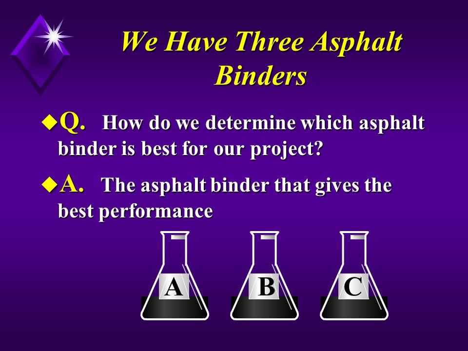 We Have Three Asphalt Binders u Q.