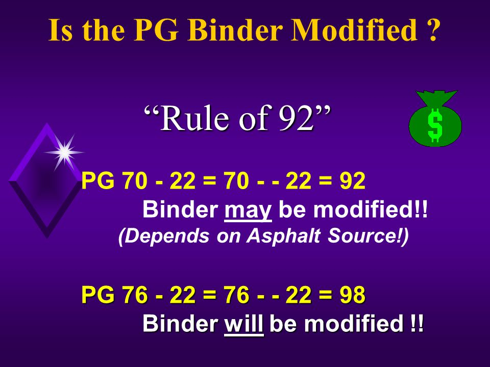 PG 70 - 22 = 70 - - 22 = 92 Binder may be modified!.