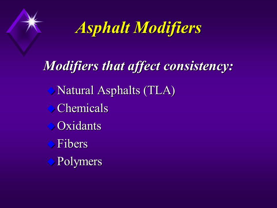 Modifiers that affect consistency: u Natural Asphalts (TLA) u Chemicals u Oxidants u Fibers u Polymers Asphalt Modifiers