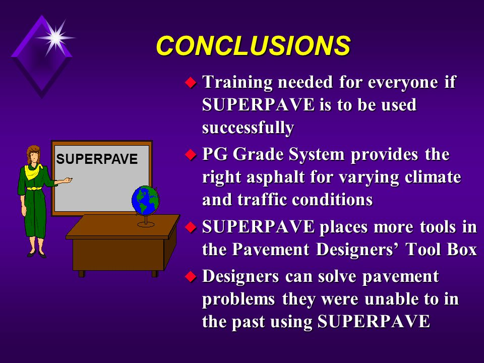 CONCLUSIONS u Training needed for everyone if SUPERPAVE is to be used successfully u PG Grade System provides the right asphalt for varying climate and traffic conditions u SUPERPAVE places more tools in the Pavement Designers Tool Box u Designers can solve pavement problems they were unable to in the past using SUPERPAVE SUPERPAVE
